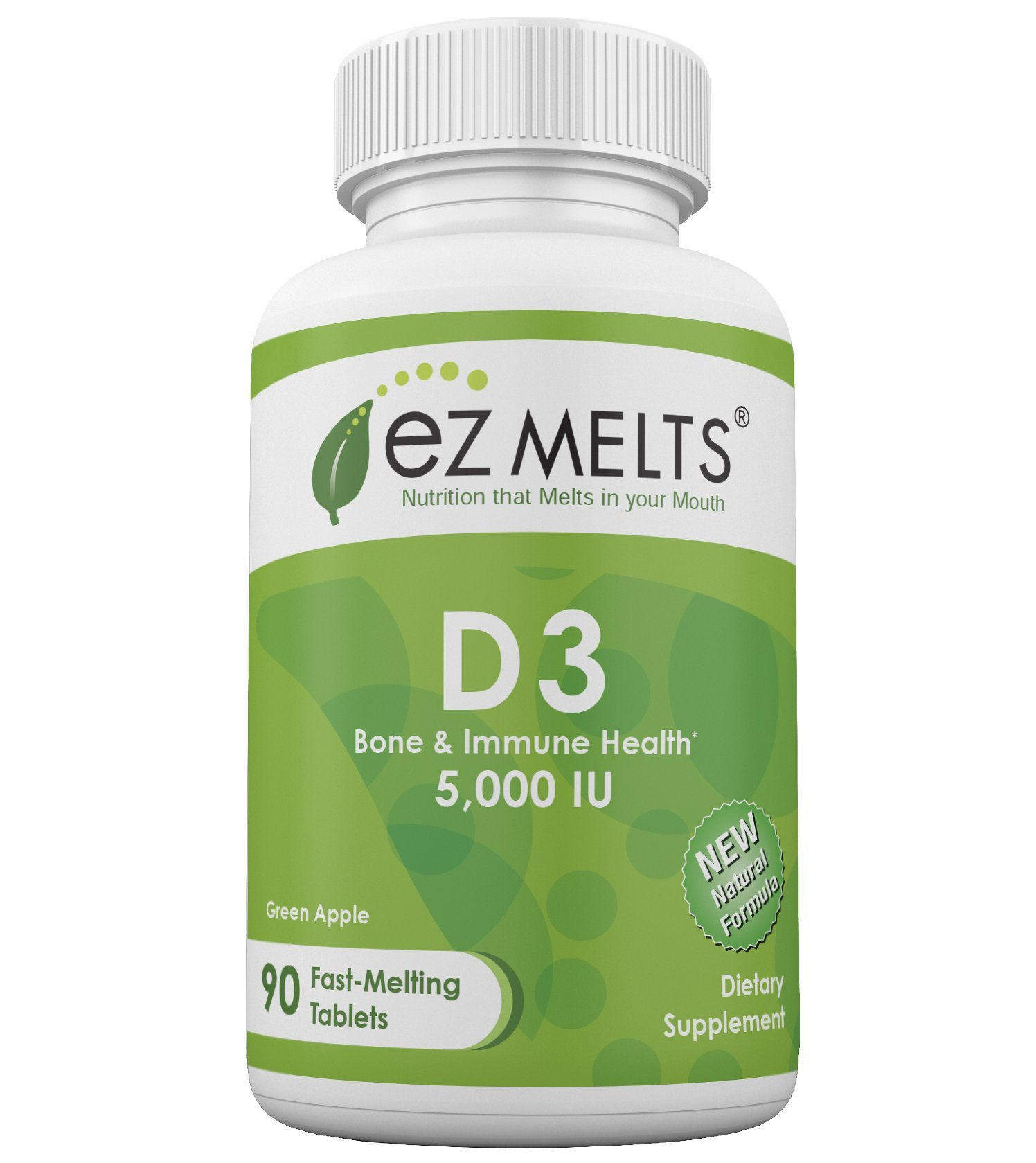EZ Melts D3, 5,000 IU, Dissolvable Vitamins, Vegetarian, Zero Sugar, Natural Apple Flavor, 90 Fast Melting Tablets, Vitamin D3 Supplement