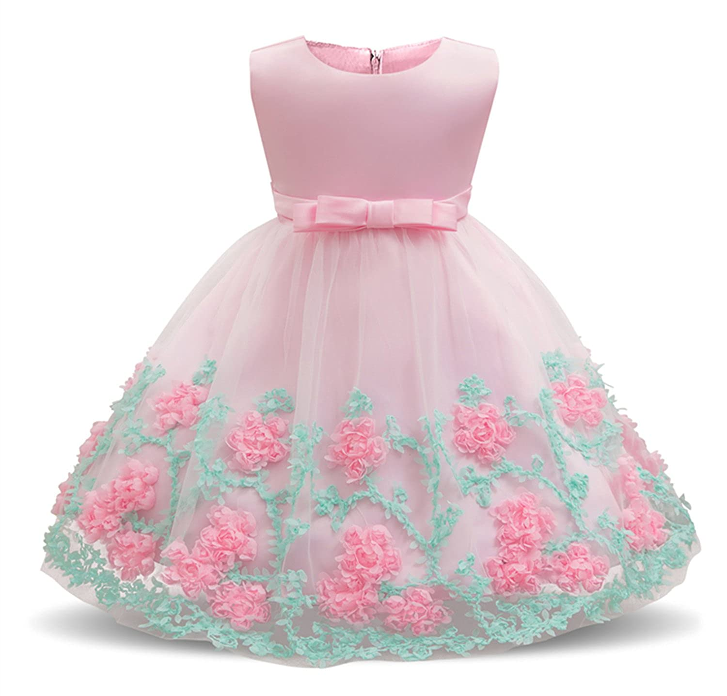 Dhiuow Baby Girl Flower Wedding Dresses Tulle Birthday Party Pageant Dress Age 0-24M