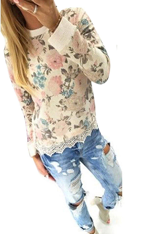 Minetom Damen Casual Lace T-Shirt Tops Kapuzenshirt Blumen Drucken Bluse Pullover Tops