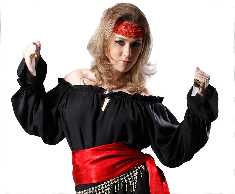 Red 3//4 Sleeve Womens Renaissance Pirate Maiden Costume Shirt