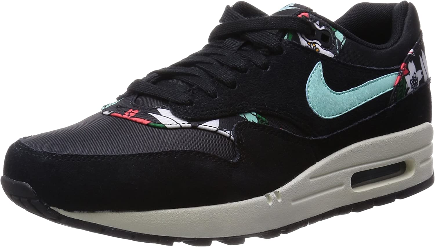 NIKE Womens AIR MAX 1 Print Running Shoes Black Artisan Teal 528898 003 SZ 8