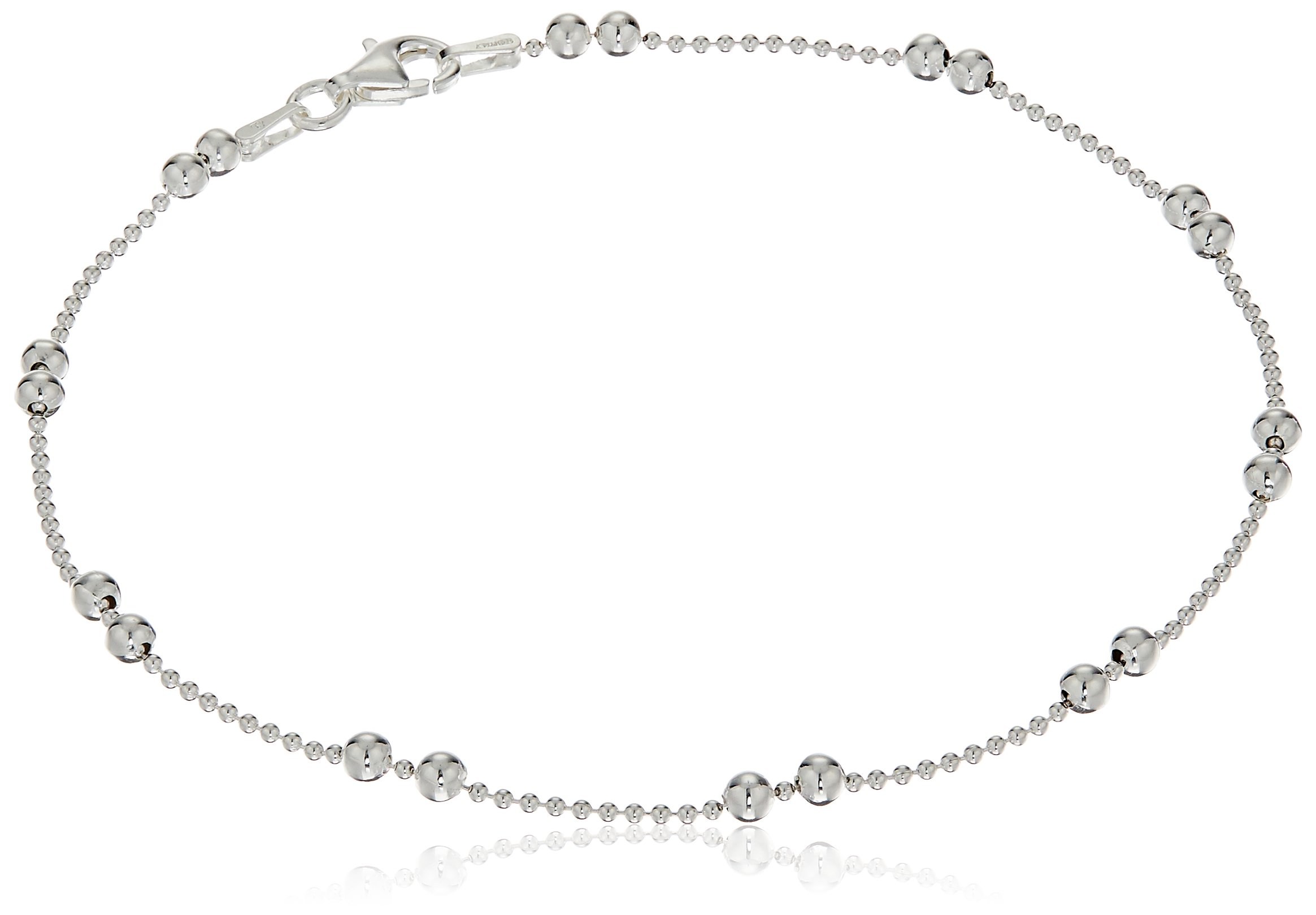 Sterling Silver Double Station Shot Bead Chain Anklet, 9''