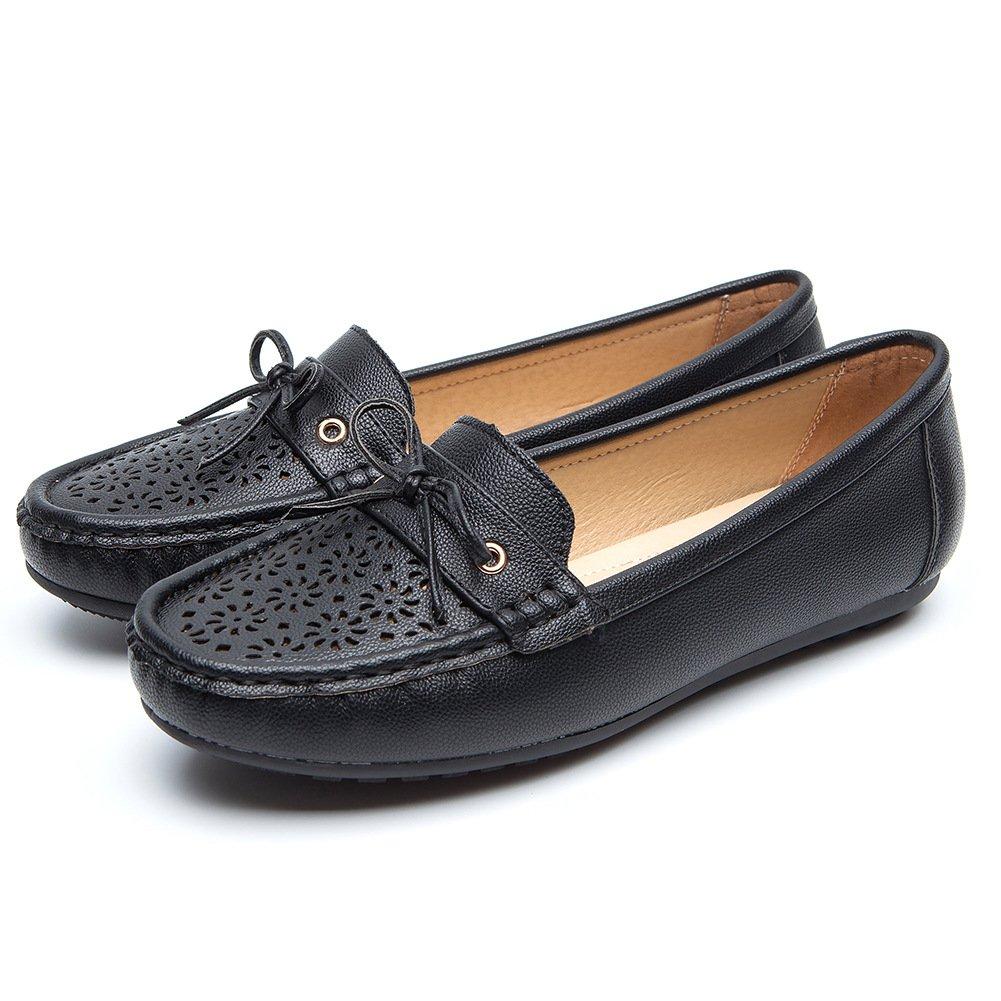 Chaussures Les Plates Noir Saisons Cuir Métal pour Femmes - Cendfini Mesdames Compensee Mocassin Confortables, avec des Attaches en Métal à la Mode Chaussures, Convient pour Toutes Les Saisons Black3 b8b425f - reprogrammed.space