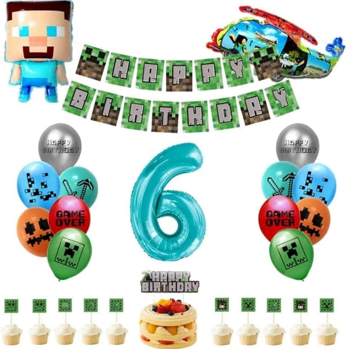 Pixel Miner Crafting Style Gamer Party Supplies,minecraft birthday party supplies Includes Cake Topper Cupcake Toppers Pixel Banner,Pixel Miner Balloons for Gamer Birthday Party Decor