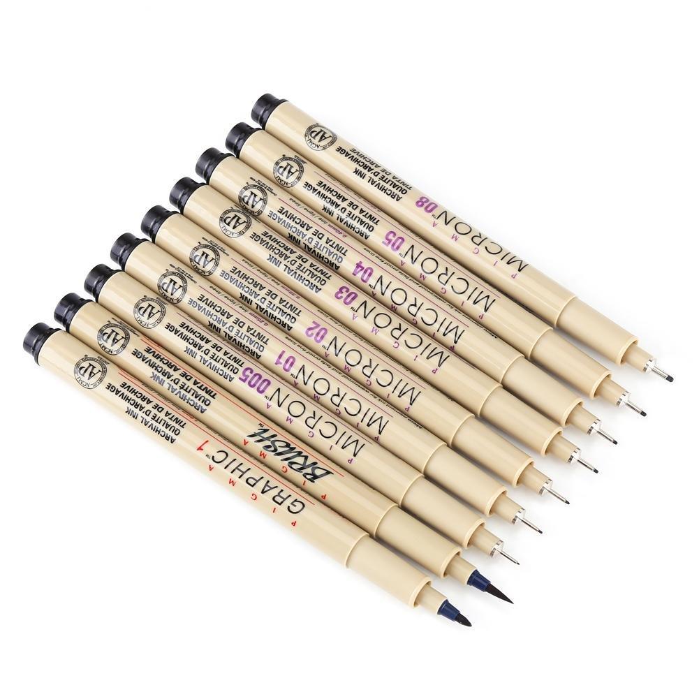 Nero fine Liner fine linea marcatori, dipinto a mano evidenziatori penna ago Liner set di penne a inchiostro disegno, schizzo Art Supplies 7 pz Walfront