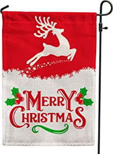 Hollyhorse Merry Christmas Garden Flag - Elk Happy Christmas Xmas Decoration Flag | Double Sided Burlap Flag for Outdoor Yard Outdoor Decor 12.5 x18 Inch