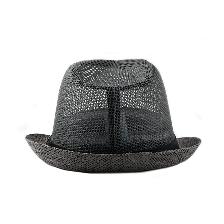 FUZE Summer Jazz Cap Beach Straw Caps Fedora Hats for Men Fedoras Panama Hat Black