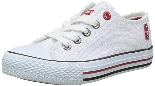 Levis Trucker Low Lace - Zapatillas de Deporte de Lona Niños, Blanco (Blanco (