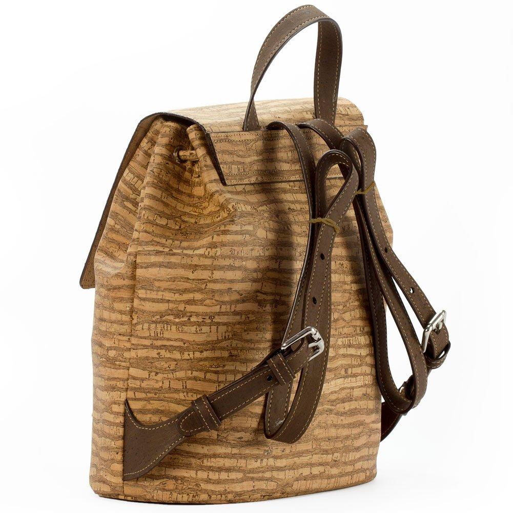 Corkor Cork Backpack - Vegan Handbag For Women Top Flap Back Pack Travel School Natural Zebra by Corkor (Image #3)