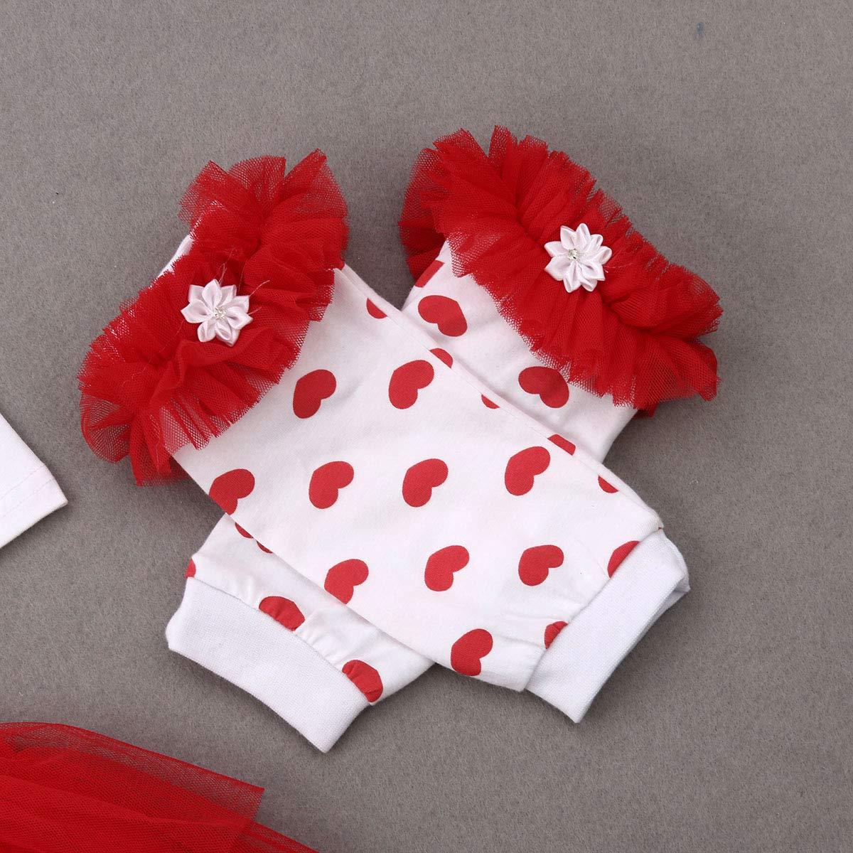 Newborn Baby Boys Girl My 1ST Valentines Day Heart Print Romper Bodysuit 3pcs Clothes Set