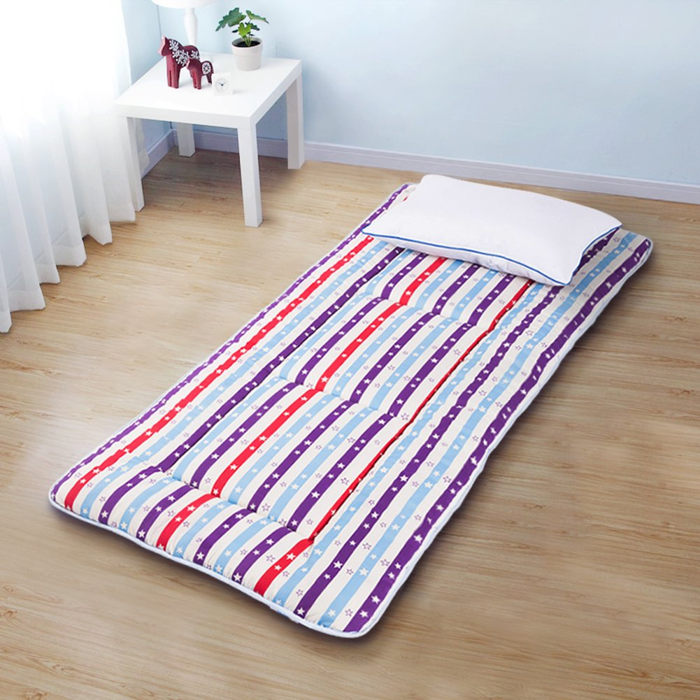 H 150x195cm(59x77inch) Bedroom Mattress Tatami mat Bed pad Grinding Fabric fold-Able Anti-Skidding 4.0cm Thick [Individual] [Double] for livingroom Student Dormitory Tents-E 120x195cm(47x77inch)