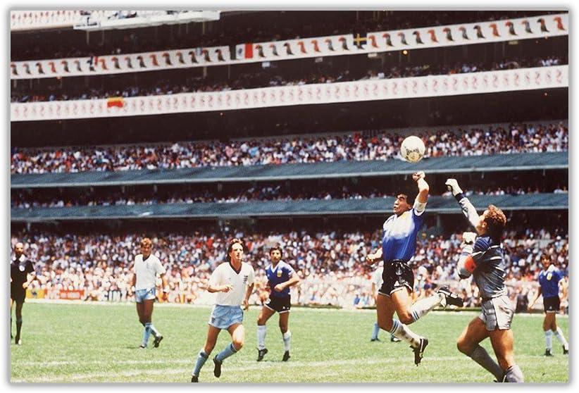 Canvas It Up Impression sur Toile Maradona Main of God Goal 1986 Finales de la Coupe du Monde de Football 30CM X 20CM Toile 0- A4-12 X 8