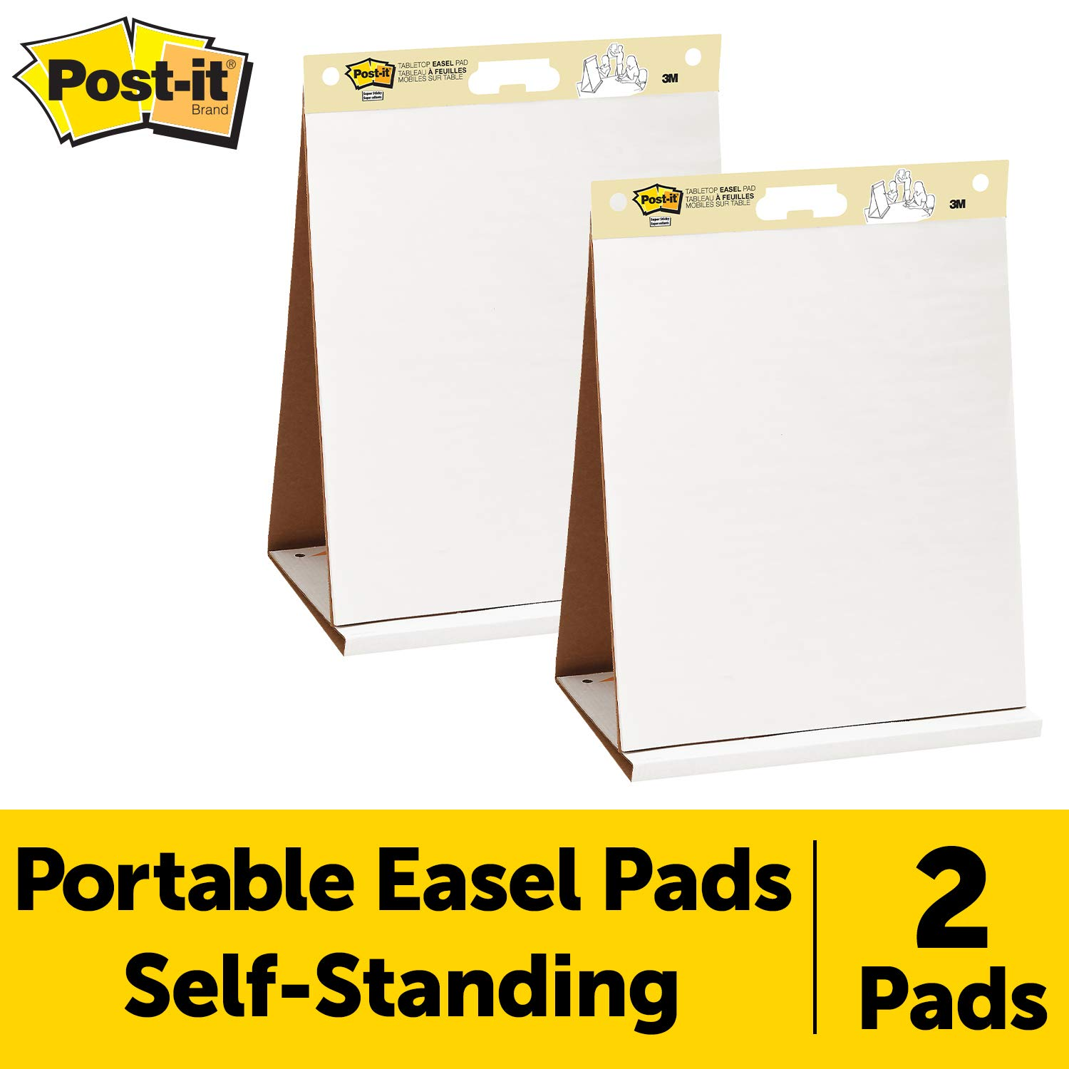 Post-it Super Sticky Portable Tabletop Easel Pad, 20x23 Inches, 20 Sheets/Pad, 2 Pads (563 VAD 2PK) by Post-it
