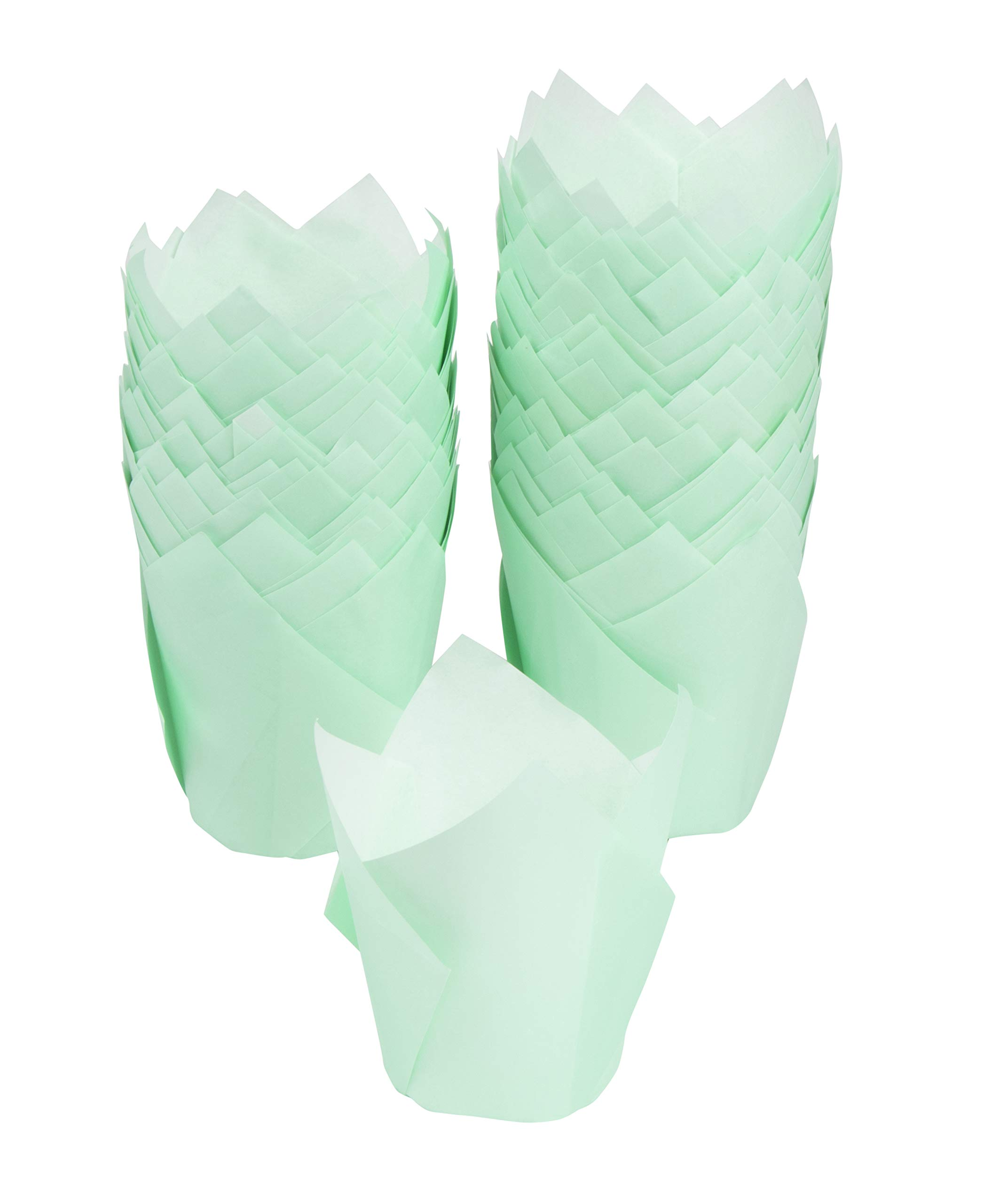 Tulip Cupcake Liners - 300-Pack Medium Baking Cups, Muffin Wrappers, Perfect for Birthday Parties, Weddings, Baby Showers, Bakeries, Catering, Restaurants, Mint Green