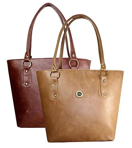 2d5fe0ffc398 Flora Premium Women s PU Leather Handbag (Combo of 2) -Tan Light Brown