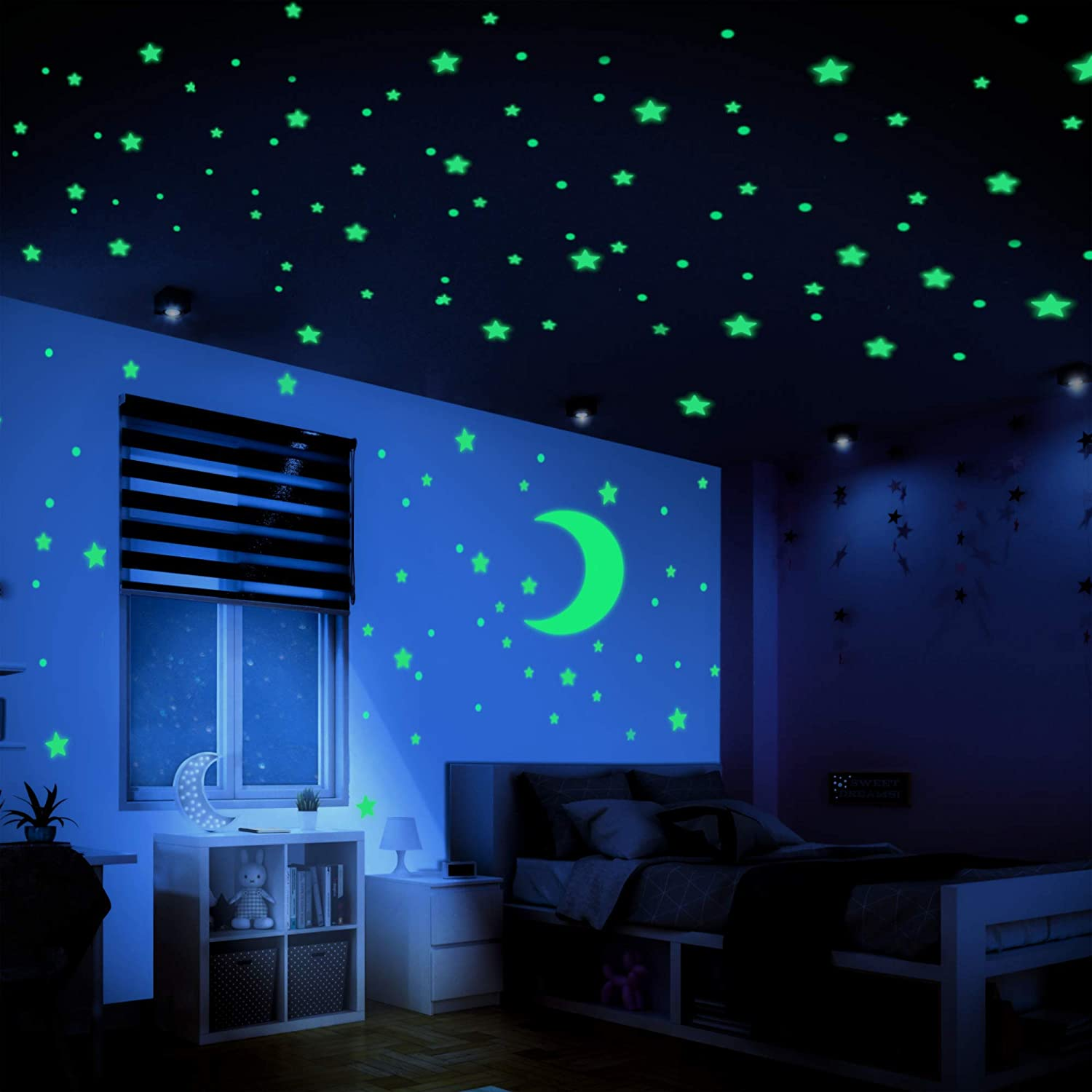 LUMOSX Glow in The Dark Stars for Ceiling Decor - 400 pcs Glow in The Dark Stickers of Ceiling Stars w/Bonus Moon Stickers and Dots Wall Decals, Star Ceiling for Kids Room Decor Kids Wall Decor