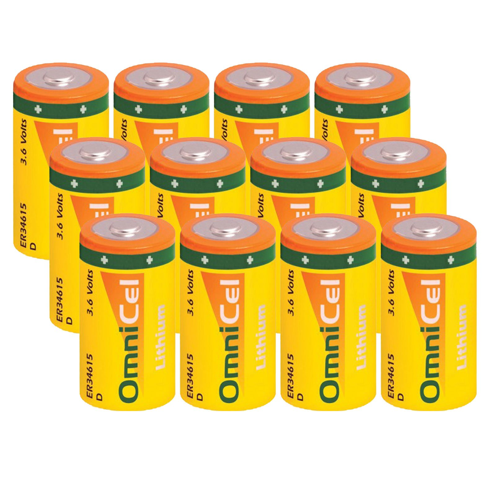 12x OmniCel ER34615 3.6 Volt 19Ah Size D Lithium Button Top Battery For RFID Tracking, Asset Tracking, Theft Prevention, Locator Beacons, AMR Add-ons, Smoke Alarms, Carbon Monoxide Detectors by Exell Battery