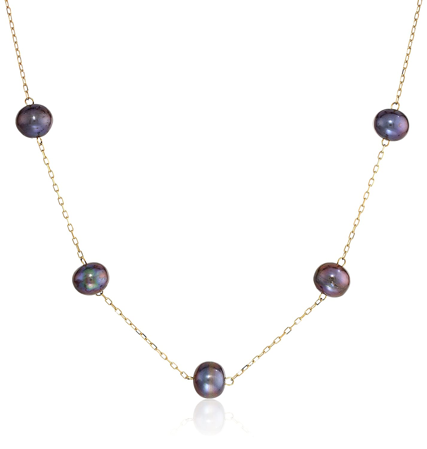 """14kt Yellow Gold Black Freshwater Cultured Pearl Tin Cup Necklace, 17"""""""