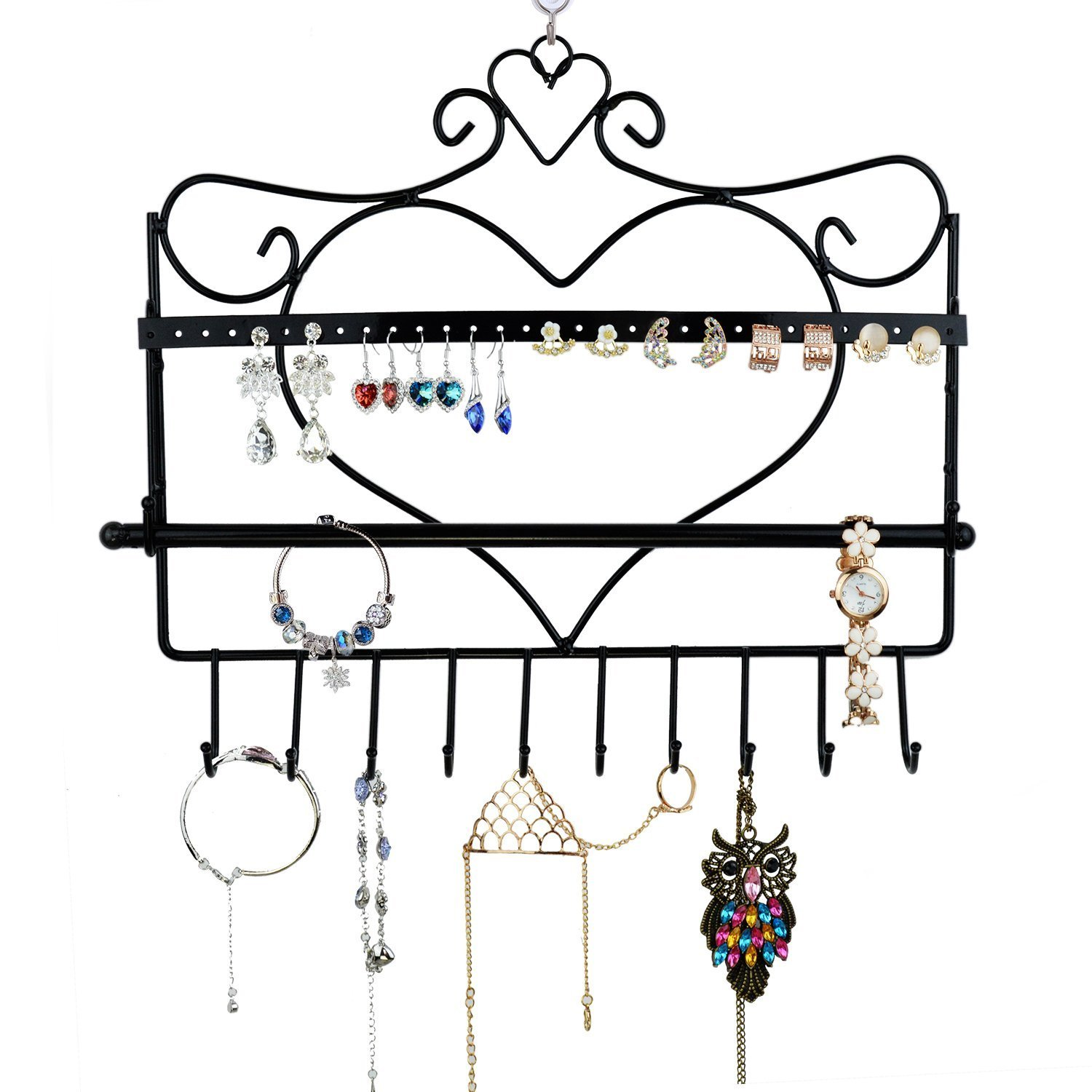 Home-Neat Vintage Wall Mount Heart Shape Jewelry Organizer Hanging Earring Holder Necklace Jewelry Display Stand Rack Black