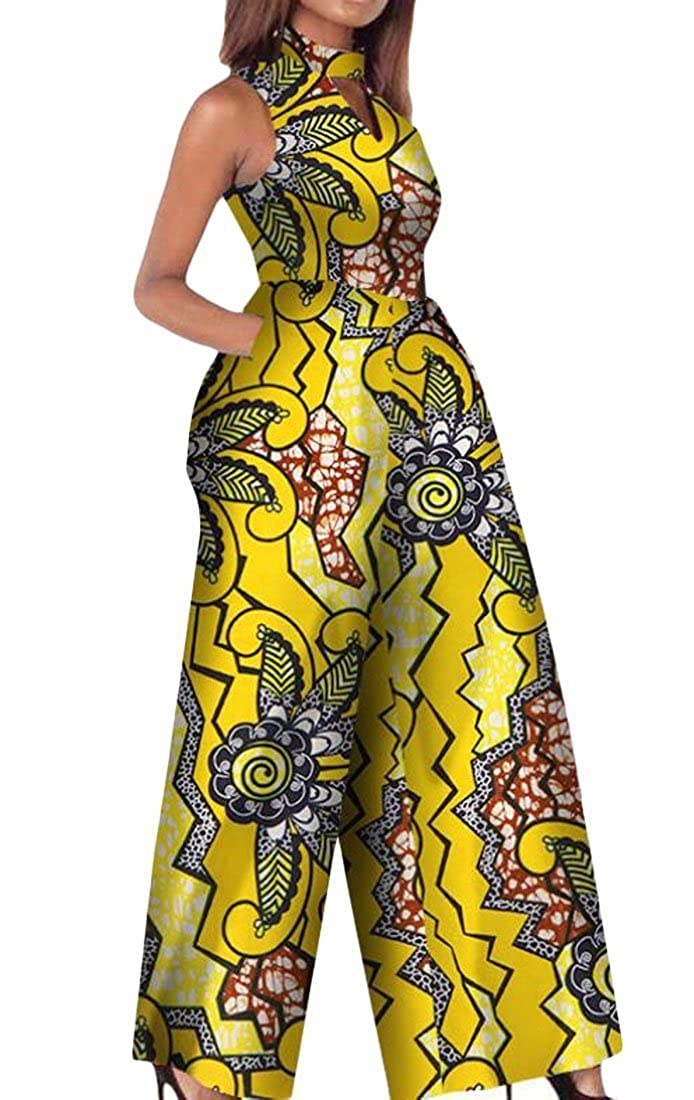 901bf4a0fd9 Amazon.com  Rrive Women s Sexy Wide Leg Sleeveless African Print Dashiki  Romper Jumpsuits  Clothing