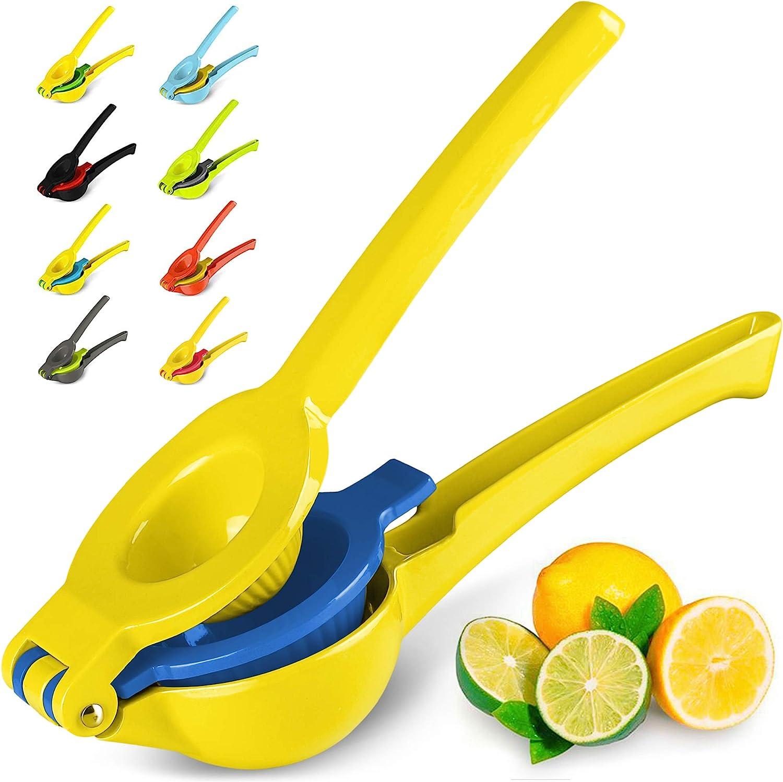 Top Rated Zulay Premium Quality Metal Lemon Lime Squeezer - Manual Citrus Press Juicer (Aspen Gold and Princess Blue)