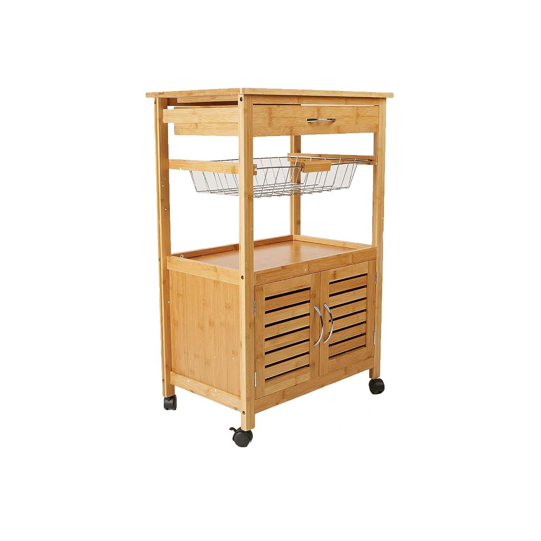 Mind Reader CUPTROLLBM-BRN 3 Tier Kitchen Cart Space-Saving Kitchen Trolley,Utility Organizer Rack, Bamboo Brown
