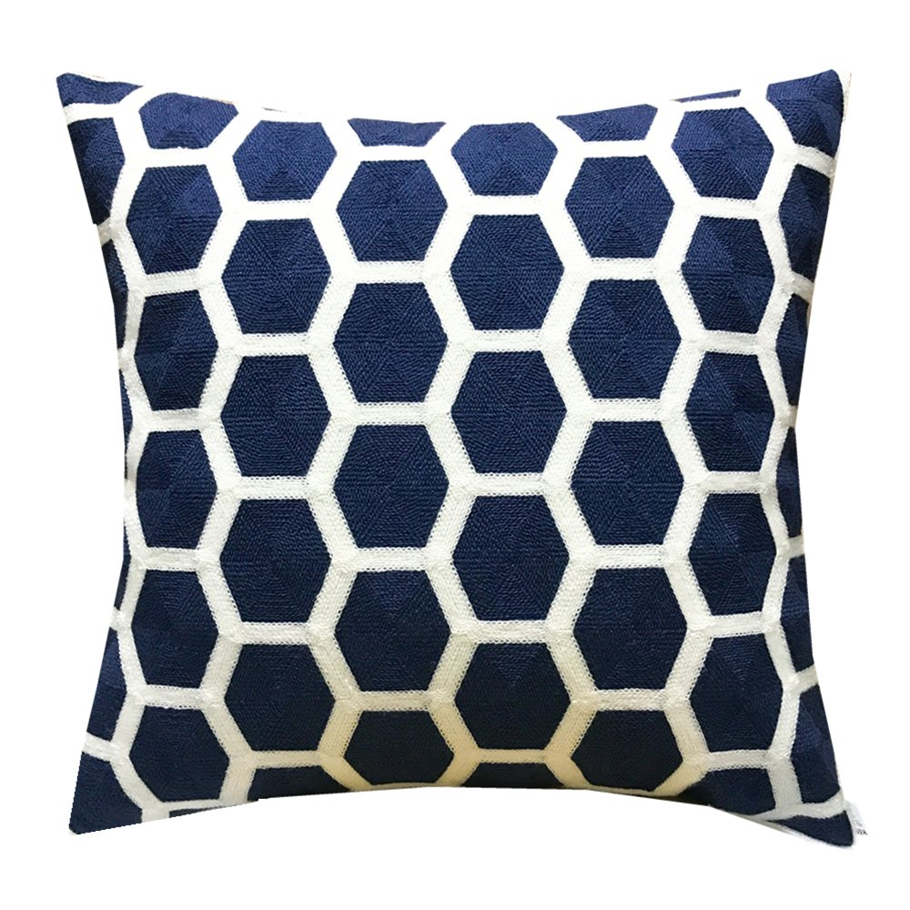 SLOW COW Embroidery Cozy Throw Pillow Cover for Couch Bed Sofa, Navy Football Geometric Trellis Chain Cushion Cover, 18 X 18 Inches.