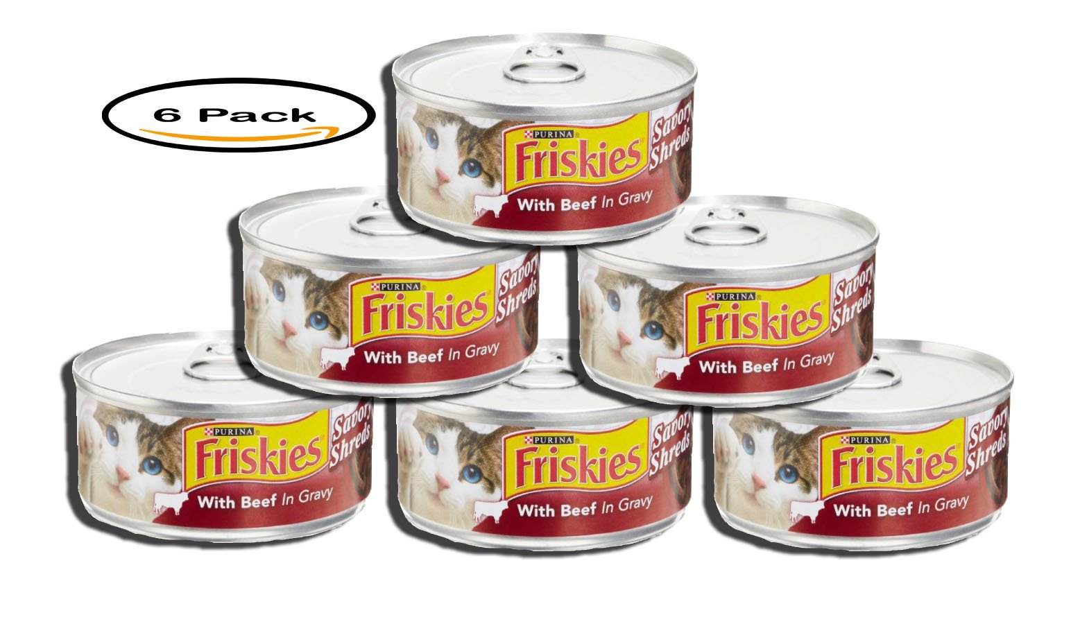 PACK OF 6 - Purina Friskies Savory Shreds Beef in Gravy Wet Cat Food, 5.5 Oz, 24 Pack
