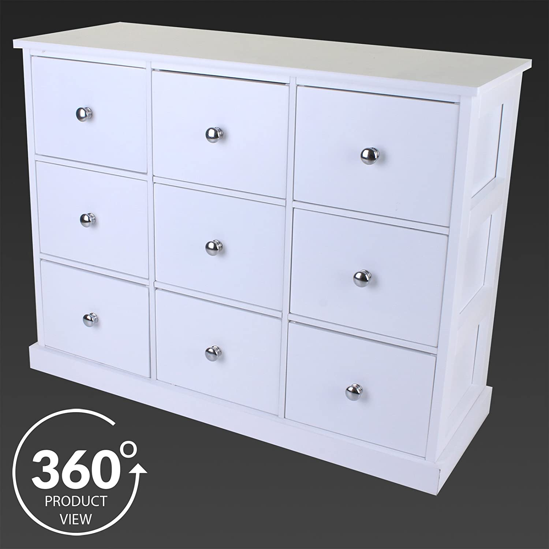 Marko Furniture 9 Drawer Chest White Large Merchant Bedroom Bathroom Furniture Cabinet Storage