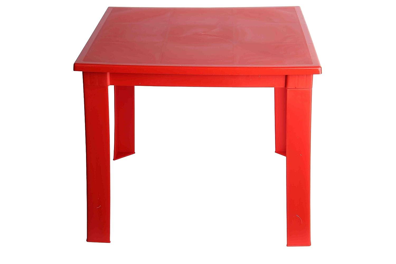 Mesa de cocina extensible con sobre de vidrio rojo, plateado moderna y barata Mesita auxiliar Mesa plegable Roja Todo de Rojo