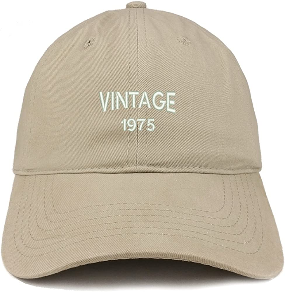 Trendy Apparel Shop Small Vintage 1975 Embroidered 45th Birthday Adjustable Cotton Cap