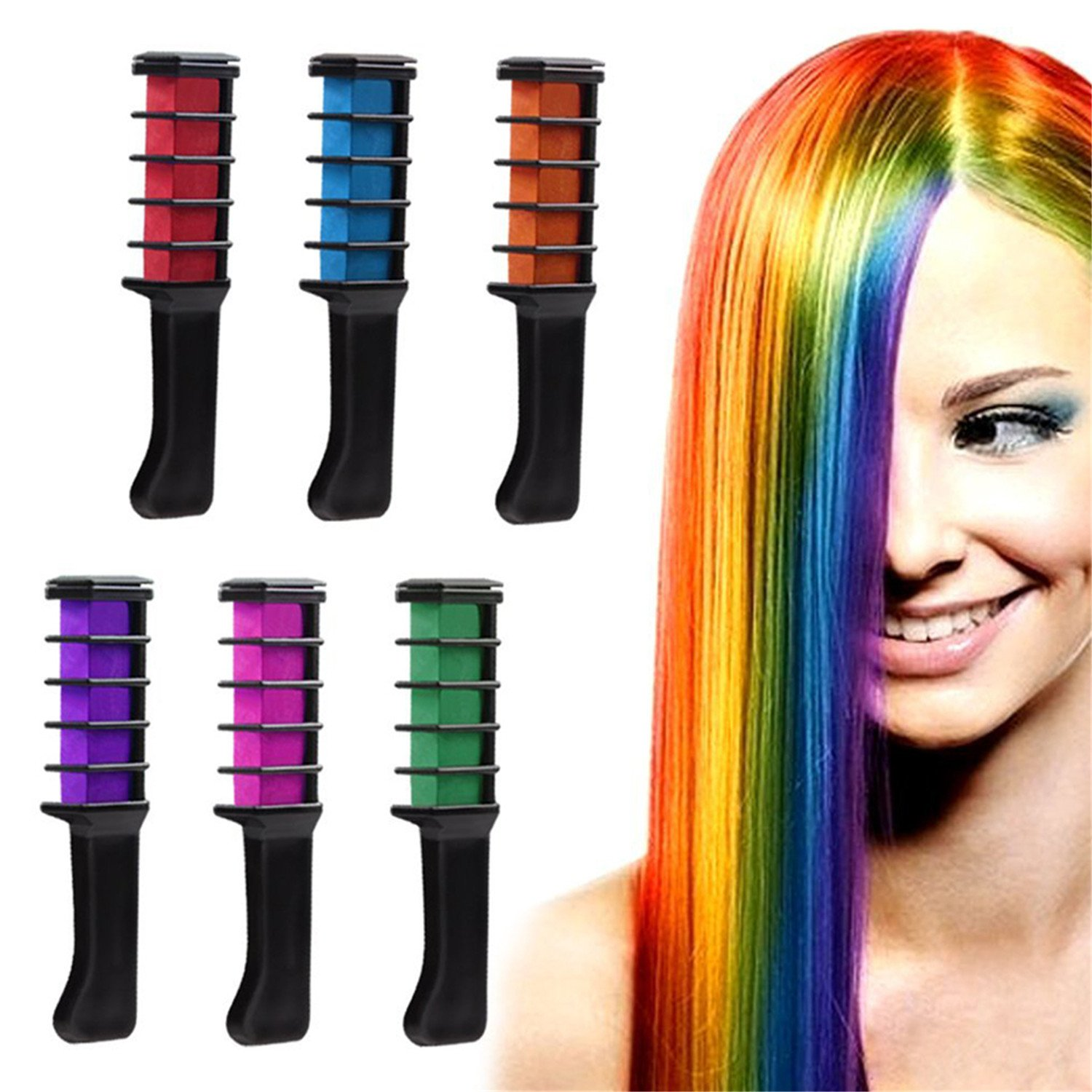 HMILYDYK Temporary Hair Chalk Washable Hair Color Comb Non-Toxic Washable Hair Dye DIY Party Fans Cosplay Kits for Girls Birthday Christmas Gift GUCHALKCOMB-B-6PCS
