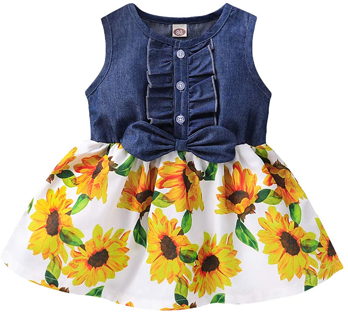Kucnuzki Toddler Girl Outfits Baby Sunflower Princess Dresses Denim Summer Sleeveless Clothes Jean Tutu Skirts for Girls