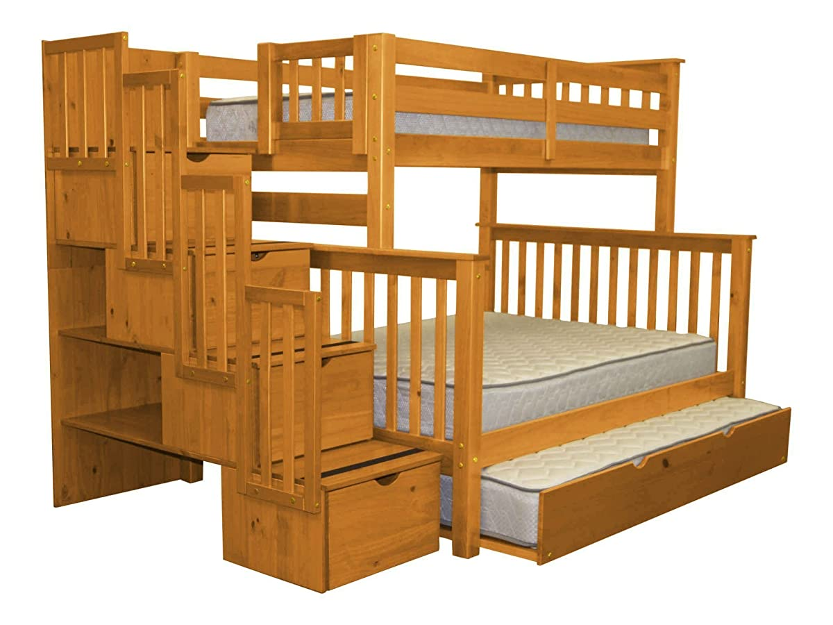 Bedz King Stairway Bunk Beds Twin over Full with 4 Drawers in the Steps and a Twin Trundle, Honey