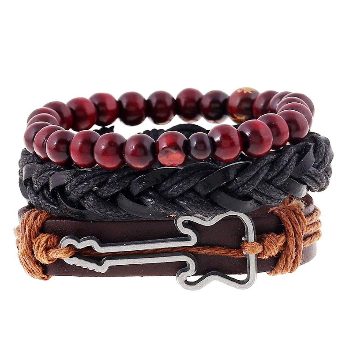 LZHMCircle Bracelet en Cuir Unisexe Bracelet Multi Brins Bracelets Réglables Simple Rétro Tissage Bracelet en Cuir Alliage Guitare Bracelet en Cuir