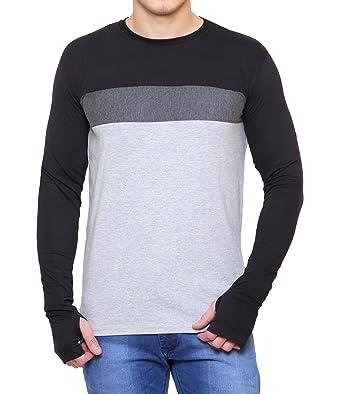 56850228c1137 Scatchite Men s Black   Grey Full Sleeve T-shirts  Amazon.in ...