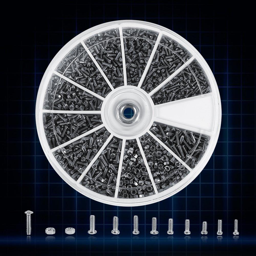 Coffret de 600pcs Assortiment Vis Boulon T/ête Ronde Frais/ée Phillips Cruciforme en Acier Inoxydable 304 avec Ecrous Hexagonals