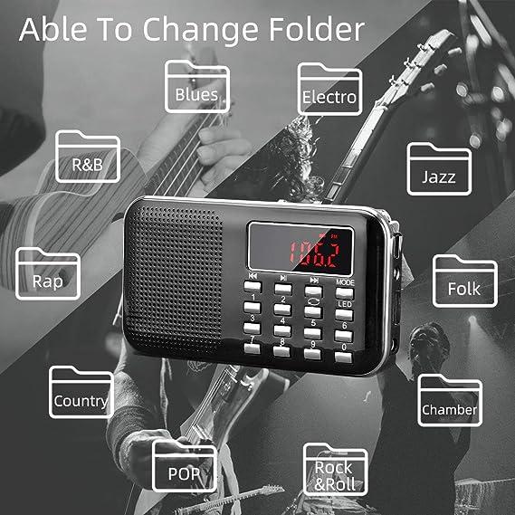 Radio de Transistor portátil pequeña, L-218 Radio Am/FM Digital de Bolsillo con Tarjeta Micro TF Reproductor de MP3 de Entrada Auxiliar de Disco USB, ...