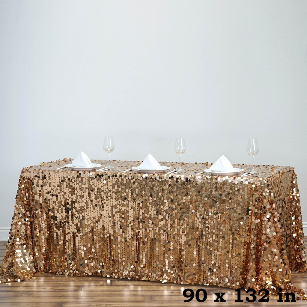 BalsaCircle 90-Inch x 132-Inch Gold Big Payette Sequin Tablecloth Table Linens Wedding Party Events Decorations Kitchen Dining