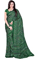 Aaradhya Fashion Women's Crepe Saree With Blouse Piece (Afmoss-0112_Dark Green)