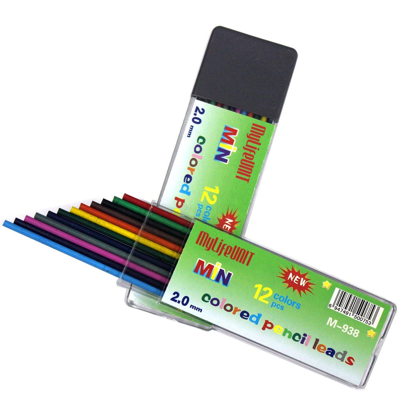 MyLifeUNIT 2 mm colores lápices de color lead, 2.0 mm 12 minas para ...