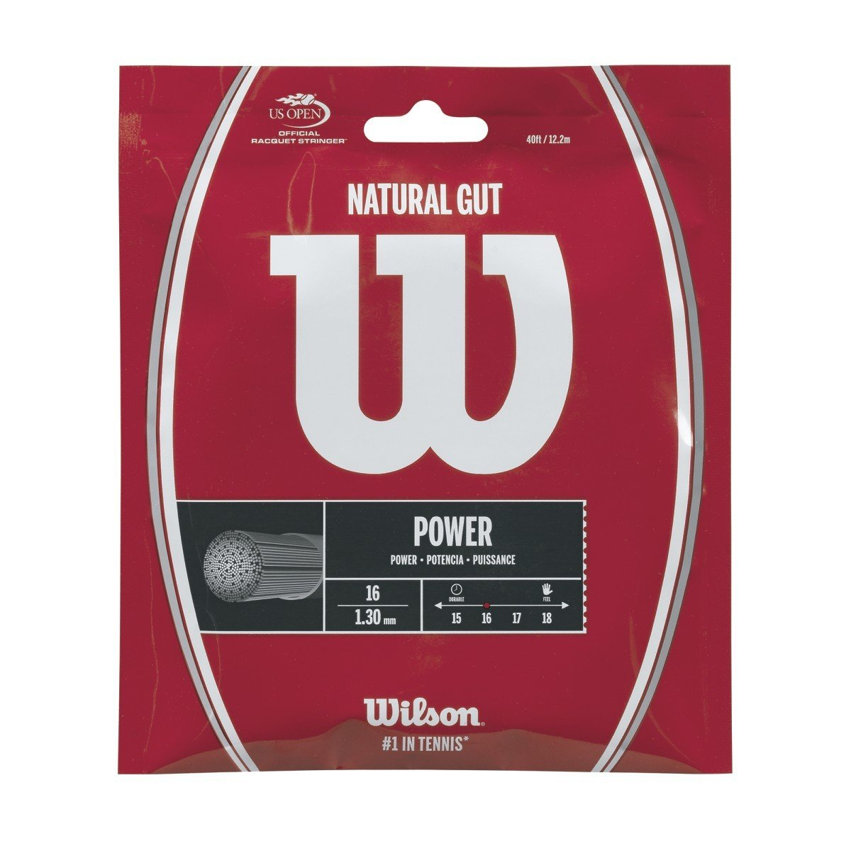 Wilson Natural Gut Power Tennis String - 16 Gauge (Best String for Control and Comfort)