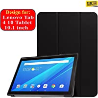Taslar Leather Stand Function with Magnetic Lock Flip Cover Case for Lenovo Tab4 10 Tablet (10.1 inch) (Black)