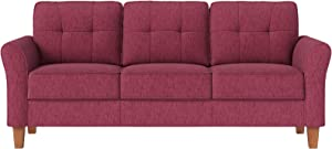 VASAGLE Sofa, Couch for Living Room Classic Upholstered, Soft Surface, for Apartment Small Space Dorm, Solid Wood Frame and Legs, 78 x 31.9 x 34.3 Inches, Red ULCS100R01