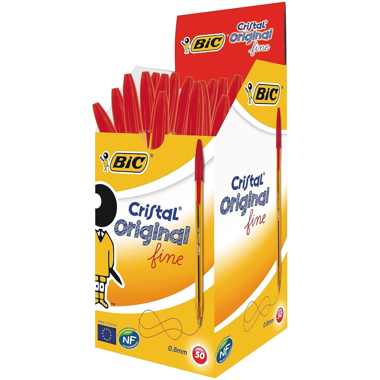 BIC Cristal Original - Caja de 50 bolígrafos de punta fina, color rojo 872720