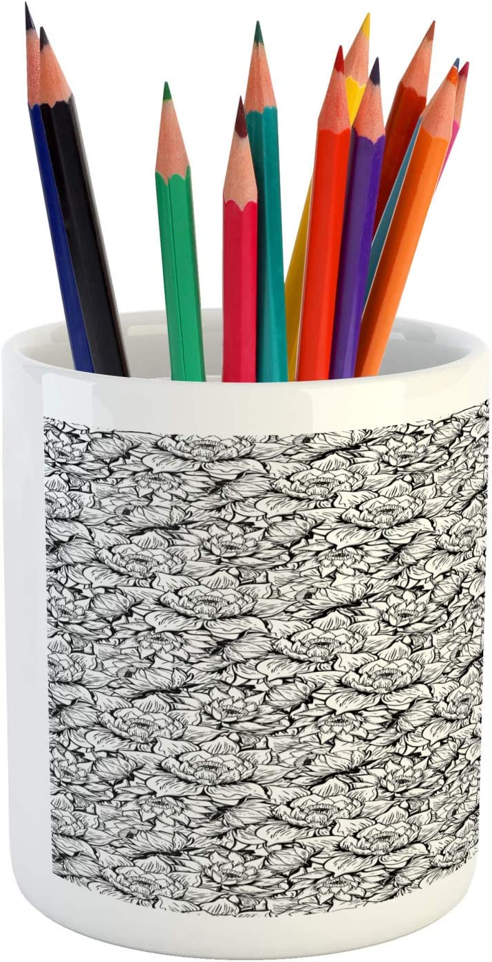 3.6 X 3.2 Charcoal Grey and White Ceramic Pencil Holder for Desk Office Accessory Lunarable Flower Pencil Pen Holder Hand Drawn Floral Blossoms Pattern with Monochrome Outline Lily Petals