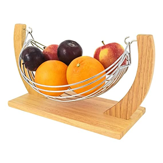 Unibos Beautiful Decorative Chrome Wire Fruit Basket Hammock Bowl Stand with Wooden Base New