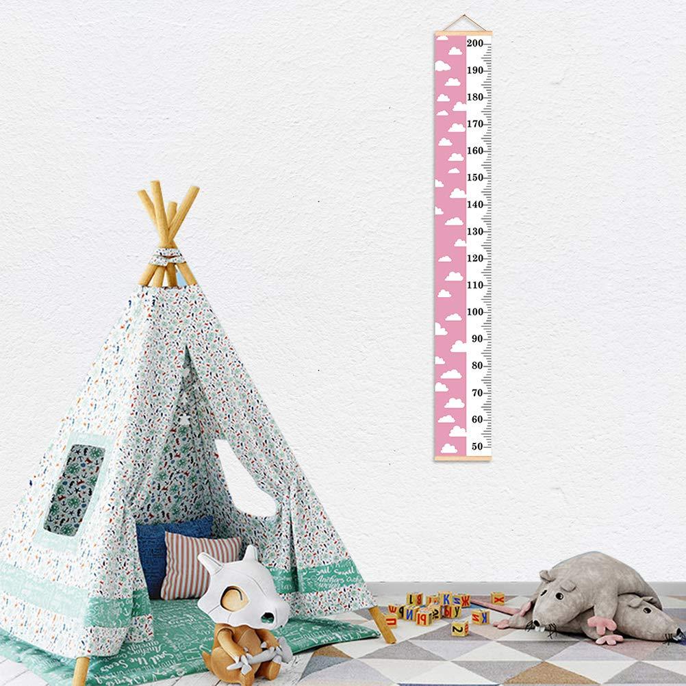 SUPVOX Toise Murale /à Suspendre Courbe de Croissance Hauteur Mesure Enfant 152x21cm Motif Nuage Blanc Rose
