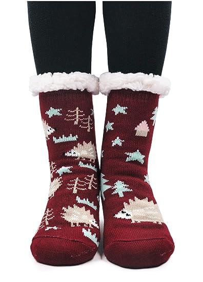 PUTUO Pantuflas Mujer Gruesos Calcetines de piso casa abrigados Invierno Térmico Calcetines, Mujer Antideslizante Calientes Calcetines Zapatillas de casa: ...
