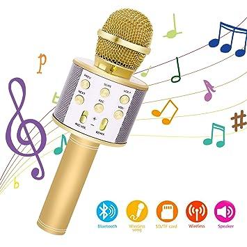 Bearbro Micrófono Inalámbrico Bluetooth,Micrófono Karaoke Bluetooth Portátil con Función Selfie para Niños Canta Partido Musica, Compatible con ...